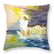 He Calms The Waters Throw Pillow by Mary Spyridon Thompson