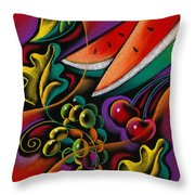 Healthy Fruit Throw Pillow by Leon Zernitsky