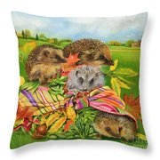 Hedgehogs Inside Scarf Throw Pillow by EB Watts