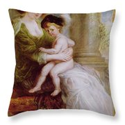 Helene Fourment And Her Son Frans Throw Pillow by Rubens