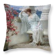 Her Eyes Are With Her Thoughts And They Are Far Away Throw Pillow by Sir Lawrence Alma-Tadema