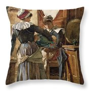 Her First Born Throw Pillow by Walter Langley