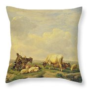 Herdsman And Herd Throw Pillow by Eugene Joseph Verboeckhoven