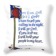Here I Am Throw Pillow by Judy Dodds