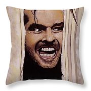 Here's Johnny Throw Pillow by Tom Carlton