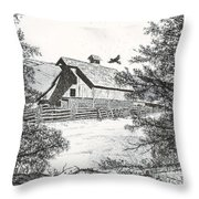 High Country Barn Throw Pillow by Judy Sprague