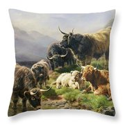 Highland Cattle Throw Pillow by William Watson