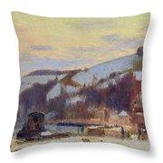 Hillside At Croisset Under Snow Throw Pillow by Joseph Delattre