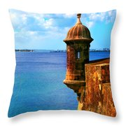 Historic San Juan Fort Throw Pillow by Perry Webster