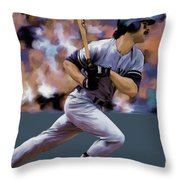 Hit Man  Don Mattingly  Throw Pillow by Iconic Images Art Gallery David Pucciarelli