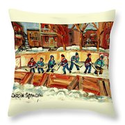 Hockey Rinks In Montreal Throw Pillow by Carole Spandau