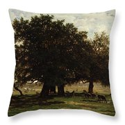 Holm Oaks Throw Pillow by Pierre Etienne Theodore Rousseau