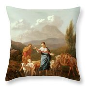 Holy Family At A Stream Throw Pillow by Karel Dujardin