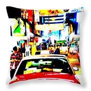 Hong Kong cabs Throw Pillow by Funkpix Photo Hunter