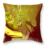 Hookah Smoking Caterpillar Throw Pillow by Carol and Mike Werner