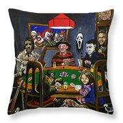 Horror Card Game Throw Pillow by Tom Carlton
