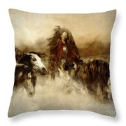 Horse Spirit Guides Throw Pillow by Shanina Conway