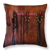 Horse Trainer - Jingle Bells Throw Pillow by Mike Savad