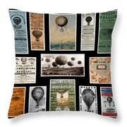 Hot Air Balloon Posters Throw Pillow by Andrew Fare