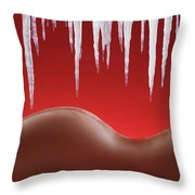 Hot Naked Woman Body Under Melting Icicles Throw Pillow by Oleksiy Maksymenko