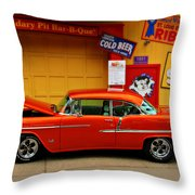 Hot Rod BBQ Throw Pillow by Perry Webster