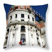 Hotel Negresco In Nice Throw Pillow by Carla Parris
