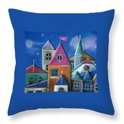 Houses Throw Pillow by Caroline Peacock