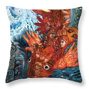 Humanity Fish Throw Pillow by Emily McLaughlin
