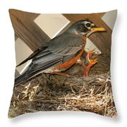 Hungry Mouths To Feed Throw Pillow by Lara Ellis
