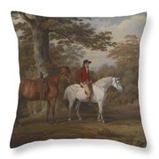 Hunter and Huntsman Throw Pillow by George Gerrard