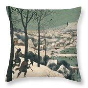 Hunters In The Snow Throw Pillow by Pieter the Elder Bruegel