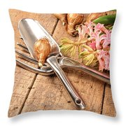 Hyacinth Flowers With Garden Throw Pillow by Sandra Cunningham