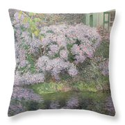 Hydrangeas On The Banks Of The River Lys Throw Pillow by Emile Claus