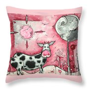 I Love Moo Original Madart Painting Throw Pillow by Megan Duncanson