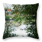 Ile De La Grande Jatte Through The Trees Throw Pillow by Claude Monet
