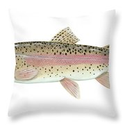Illustration Of A Rainbow Trout Throw Pillow by Carlyn Iverson