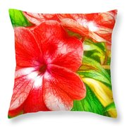 Impatiens Flower Throw Pillow by Lanjee Chee