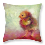 Impressionist Chick Throw Pillow by Talya Johnson