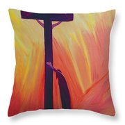 In our sufferings we can lean on the Cross by trusting in Christ's love Throw Pillow by Elizabeth Wang