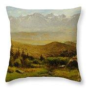 In The Foothills Of The Rockies Throw Pillow by Albert Bierstadt