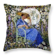 In The Garden Throw Pillow by Frederick Carl Frieseke