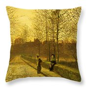 In The Golden Gloaming Throw Pillow by John Atkinson Grimshaw