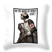 In The Name Of Mercy Give Throw Pillow by War Is Hell Store