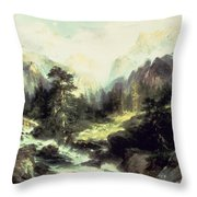 In The Teton Range Throw Pillow by Thomas Moran
