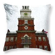 Independence Hall In Philadelphia Throw Pillow by Bill Cannon