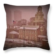 Independence Hall in the Snow Throw Pillow by Bill Cannon
