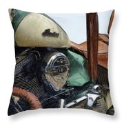 Indian Chief Vintage L Throw Pillow by Michelle Calkins