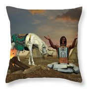 Indian Cry For Rain Throw Pillow by Corey Ford
