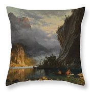 Indians Spear Fishing Throw Pillow by Albert Bierstadt
