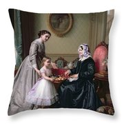 Interior At 'the Chestnuts' Wimbledon Grandmother's Birthday Throw Pillow by J L Dyckmans